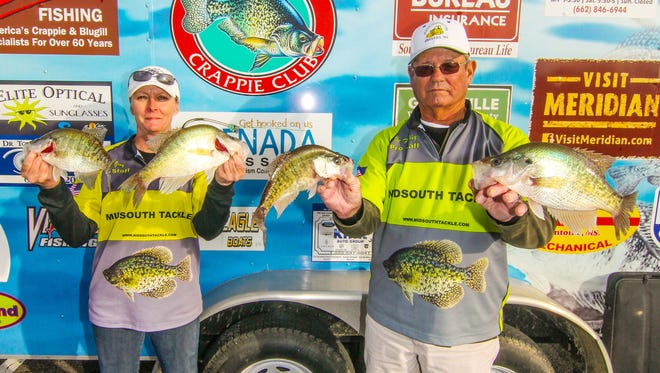 Kim Gray (left) and Vic Finkley took first place in the Magnolia Crappie Club's Lake Okatibee tournament.
