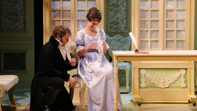 """Eric D. Pasto-Crosby as Edward and Emily Landham as Elinor in Nashville Rep's production of """"Sense and Sensibility."""""""