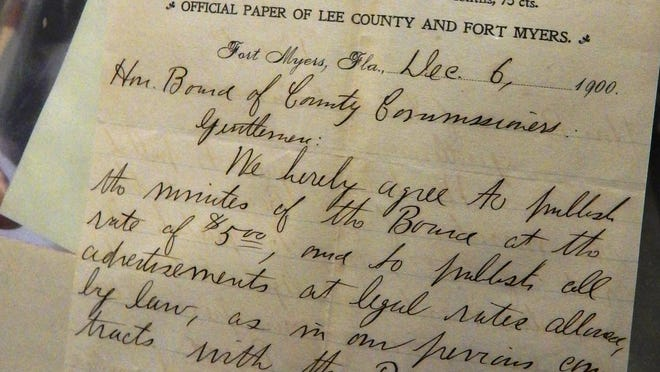 An original 1900 contract between the Lee County commission and the Fort Myers Press to publish the commission minutes for $5 a year.