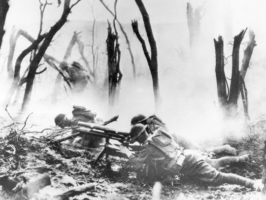A U.S. Army 37-mm gun crew mans their weapon on Sept. 26, 1918, during the Meuse-Argonne Offensive in France. The offensive used more than 1.2 million men all across the Western Front.