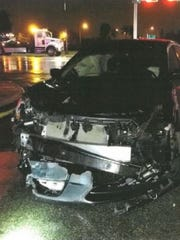 The car Kentoya Condry was riding in when a Fort Myers Police Officer ran a red light and crashed into her, causing neck and back injuries.