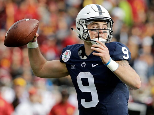 Penn State quarterback Trace McSorley passes against