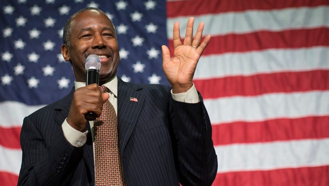 Ben Carson speaks during a campaign rally at the Sharonville Convention Center on Sept. 22, 2015, in Cincinnati.
