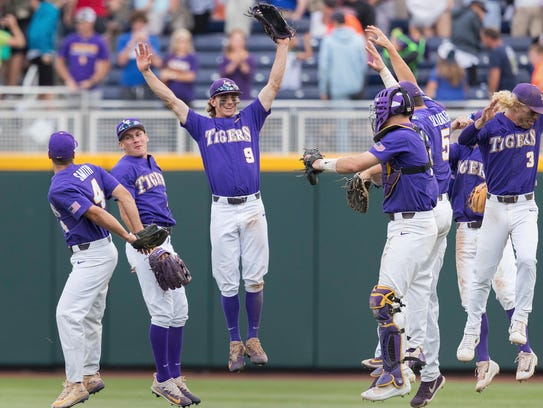 LSU celebrates defeating Oregon State during an NCAA