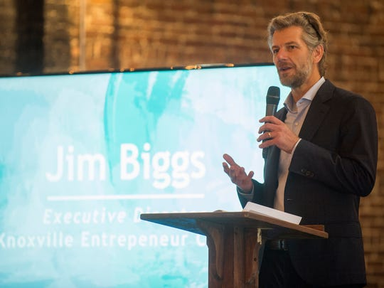 Jim Biggs, executive director of the Knoxville Entrepreneur Center, speaks during The Works: Demo Day 2017 at Jackson Terminal in Knoxville on Wednesday, Sept. 20, 2017.