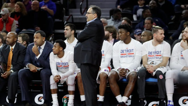 Pistons coach Stan Van Gundy stands next to the bench during the second half of the 105-90 loss to the Pacers on Saturday, Dec. 17 at the Palace.