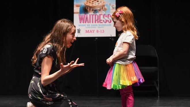Waitress Assistant Director Susanna Wolk auditions Piper Cox during an open casting call for the character of Lulu in the Broadway play coming to Greenville in May. The part is cast locally in each tour market and two girls will be chosen to alternate in the role at the Peace Center.