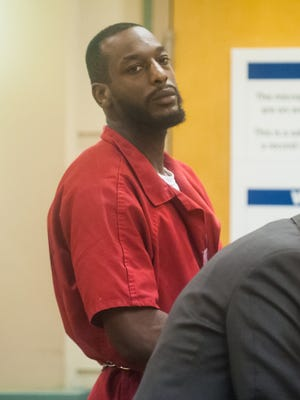 Accused murderer Jules Black, 30, looks around the courtroom during his pre-trial detention hearing in the death of Christian Rodgers at the Cumberland County Courthouse in Bridgeton on Wednesday, April 19.