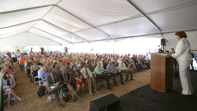 Sen. Dianne Feinstein addresses a large crowd during a public forum about designating three new national monuments at the Whitewater Preserve on Tuesday, October 13, 2015.