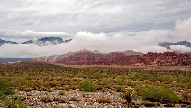 Storm clouds are seen over part of the Las Vegas Valley in 2013.