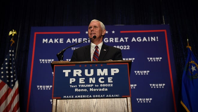 Republican vice president candidate Mike Pence speaks during a campaign event at the Reno-Sparks Convention Center on Thursday.