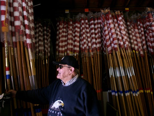 John Biegel, Jr. prepared for the Clifton Avenue of Flags to be displayed on Memorial Day, May 23, 2008.
