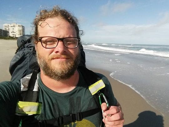 Seth Mayer, a Clarksville father of three, is walking 1,000 miles in support of the 11-year-old son of a family friend he met at church in Antioch. The boy, Daniel Burgess, is battling cancer. Here Mayer stops to take a beach selfie in Florida - 834 miles in, with 166 to go.