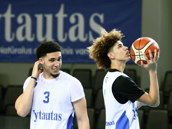 LiAngelo Ball and Lamelo Ball takes part in their first