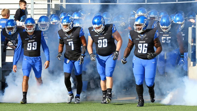 MTSU players enter Floyd Stadium for their game against Old Dominion on Nov. 25, 2017.