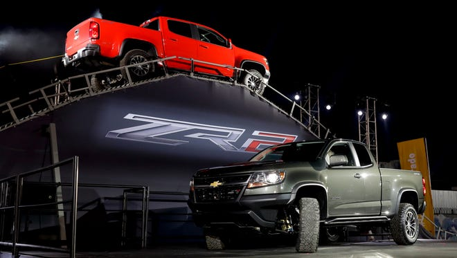 Two 2017 Chevrolet Coronado ZR2 are displayed during the Los Angeles Auto Show in Los Angeles, Tuesday, Nov. 15, 2016.