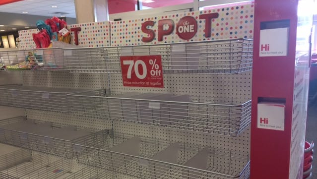 An empty shelf at a Target store in Ontario, Canada. Poorly stocked shelves are a big reason Target announced that it is closing their 100-plus stores in Canada.
