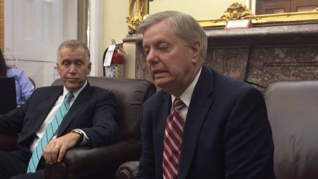 Sen. Thom Tillis, R-N.C., (left) and Sen. Lindsey Graham, R-S.C. at the U.S. Capitol on Thursday, April 7, 2016.