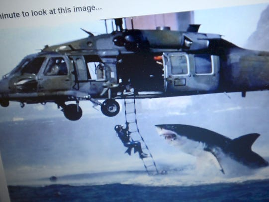 "The famous ""Helicopter Shark"" photo is classic fakery, made by combining two real photos -- a shark breaching off the coast of South Africa with an Air Force photo taken in San Francisco Bay -- to create a spectacular yet completely false image. Shannon Walters uses this image to teach students how to critically examine an image to help verify what's real and what's not."