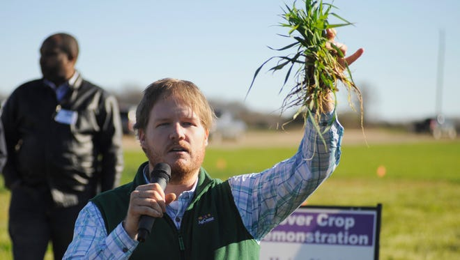 LSU AgCenter agronomist Josh Lofton shows forage oats to attendees of a cover crop and soil health workshop Wednesday at the Macon Ridge Research Station.