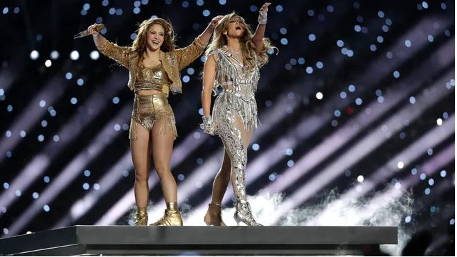 Shakira and Jennifer Lopez perform during halftime of the NFL Super Bowl 54 football game between the Kansas City Chiefs and the San Francisco 49ers Sunday, Feb. 2, 2020, in Miami Gardens, Fla.