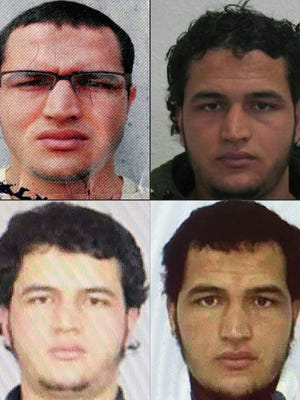 This combination of pictures created on Dec. 22, 2016 shows handout portraits released by German Federal Police Office (BKA) on Dec. 21, 2016 showing two pictures of Tunisian man identified as Anis Amri, a rejected asylum seeker suspected of involvement in a deadly truck assault on a Berlin Christmas market.