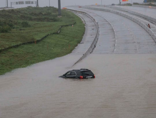 Flooded roads in downtown Houston.