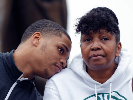 Miles Bridges, left, talks with his mother, Cynthia, on April 13, 2017 in East Lansing. Bridges, a 6-foot-7 forward from Flint, announced he is returning to Michigan State for his sophomore season.