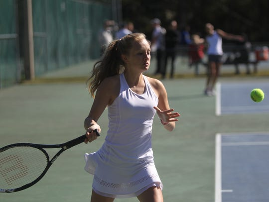 Leon's Katie Garland plays at the 2018 tennis city