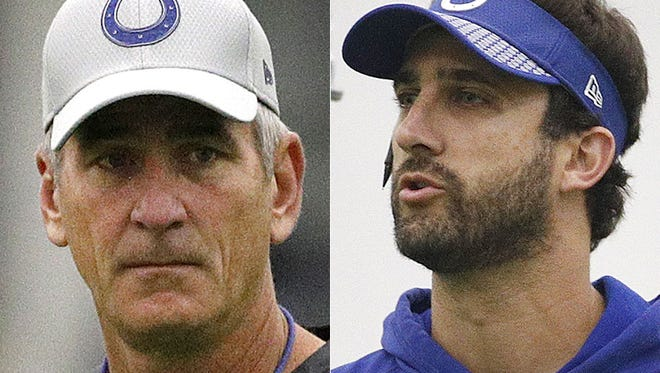 Indianapolis Colts coach Frank Reich (left) and offensive coordinator Nick Sirianni.