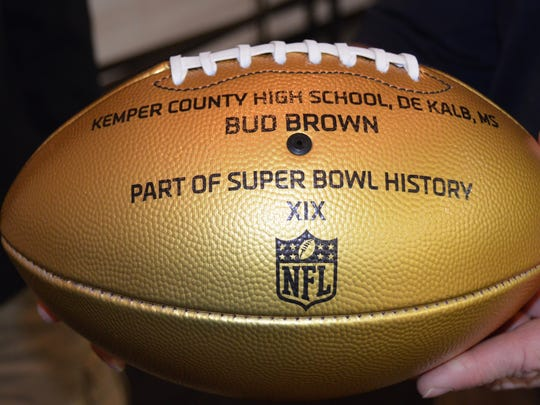 The NFL sent this commemorative football to Kemper High in Bud Brown's name to celebrate this year's 50th Super Bowl. Brown played in Super Bowl XIX and is a Kemper High graduate. The NFL sent similar footballs to the high school of every player who  has participated in a Super Bowl.