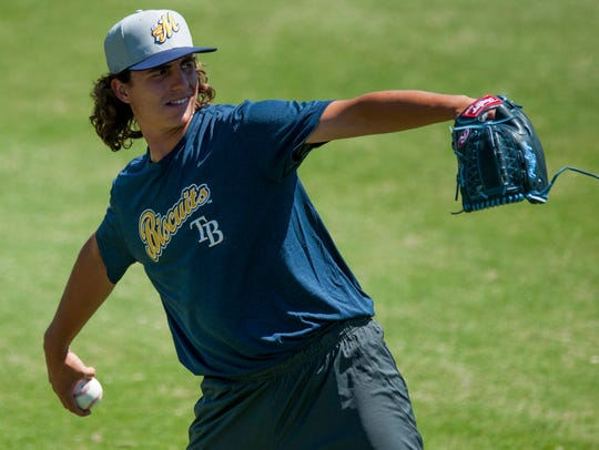 Pitcher Brent Honeywell during the Montgomery Biscuits
