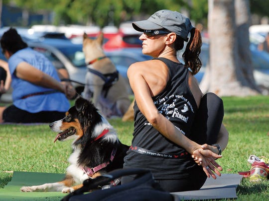 Dog owners twist into  Ardha Matsyendrasana (Half Lord