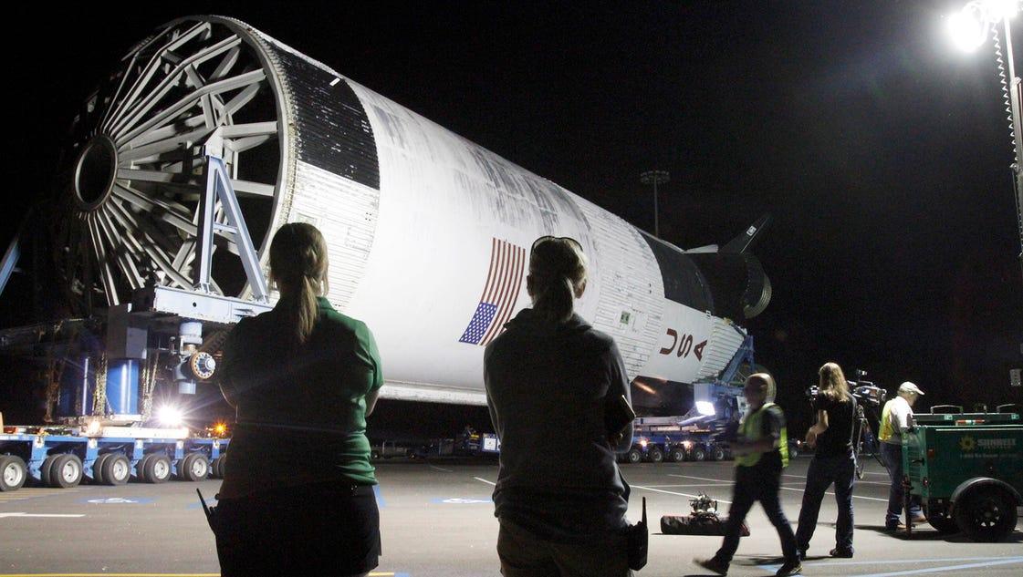 Massive Rocket Booster Arrives At Mississippi Space Museum