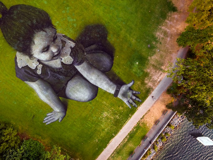 This giant land art painting entitled 'Message From
