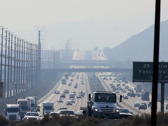 Traffic moves along Interstate 10 near Palm Springs,