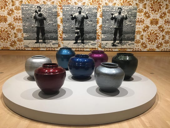 "Ai Weiwei's ""Han Dynasty Vases with Auto Paint"" includes"