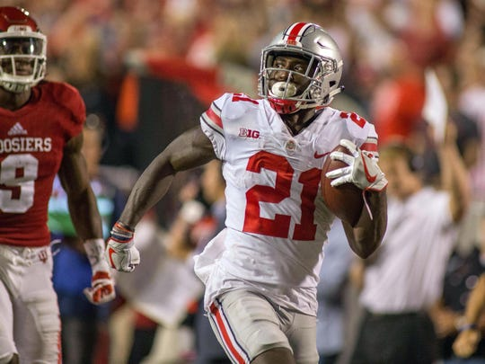 Ohio State's Parris Campbell races for a 74-yard touchdown that gave the Buckeyes the lead for good.