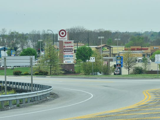 This image is a few of businesses, looking towards