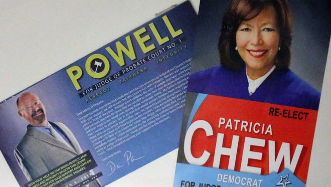 Promotional flyers for Probate Court #1 candidates Patricia Chew and Darron Powell.