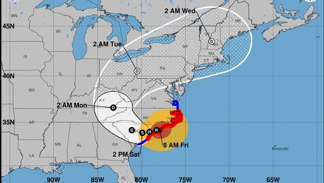 The National Hurricane Center's trajectory as of 10 a.m. Friday, Sept. 14, 2018, showed Hurricane Florence hooking through South Carolina this weekend before heading northeast.