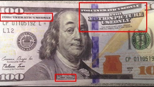 Example of a prop hundred dollar bill, akin to the ones used in the June 4 counterfeiting arrest.