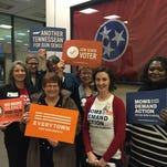 Kathleen Wright, center in red, a volunteer with the Tennessee chapter of Moms Demand Action for Gun Sense in America, and her colleagues plan on continuing to follow several gun bills introduced this session.