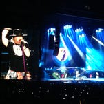 Guns N' Roses on stage at MetLife Stadium in East Rutherford on Saturday, July 23.