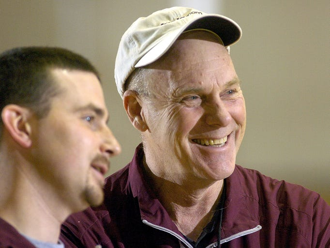 Nortrhern State University head basketball coach Don Meyer and trainer  Sean Duffy watch practice Wednesday morning. (Lloyd B. Cunningham/Argus Leader) 17 January 2008