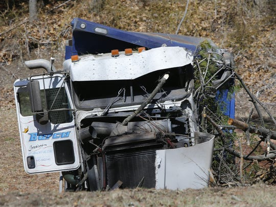 Scene of truck accident near Tennent Rd. And Rt.18 in Marlboro,NJ. Monday, March 19, 2018.