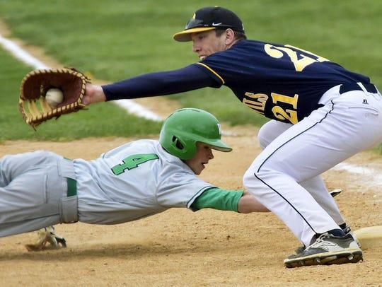 Derek Measell (21), and the Greencaslte-Antrim baseball