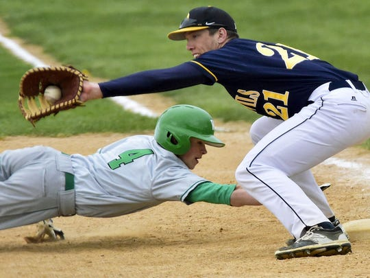 Derek Measell (21), and the Greencaslte-Antrim baseball team have played just one game so far this season thanks to weather postponements. This week, the Blue Devils begin MPC divisional play.