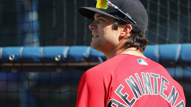 Andrew Benintendi batted leadoff for the Red Sox during their intersquad game on Thursday. Mandatory Credit: Kim Klement-USA TODAY Sports