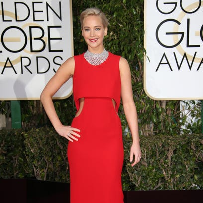 Jennifer Lawrence arrives at the 73rd Annual Golden